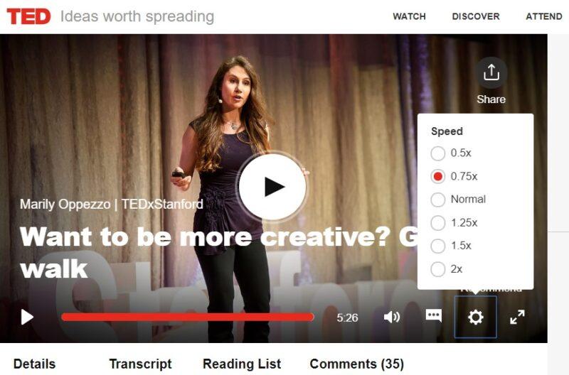 TED動画の再生速度を調整する方法